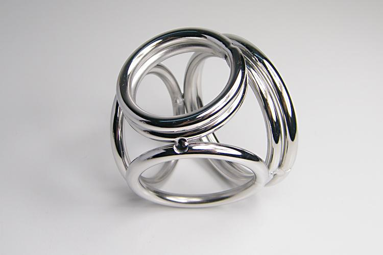 Edelstahl-Metall 4-Loops-Penis-Ring Chastity Lock, Penis Clamp, Hahn-Ring, Hahn-Clamp, Spiele für Erwachsene, Sexspielzeuge