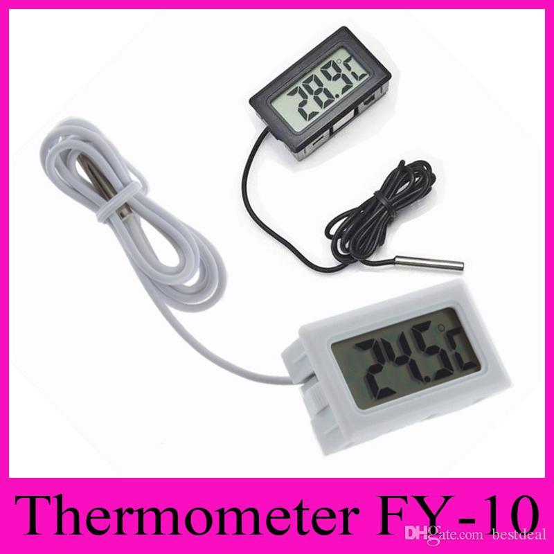FY-10 Digital Thermometer Embedded Professinal Mini LCD Temperatursensor Kühlschrank Gefrierschrank Thermometer-50 ~ 110C Controller Schwarz / Weiß 2018