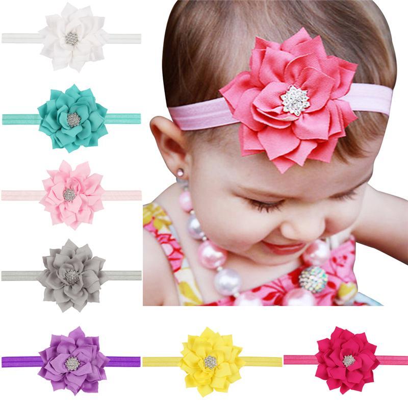 13 färger baby tjejer huvudband lotus blomma rhinestone huvudband spädbarn barn hår tillbehör huvudbonader söt härlig prinsessa hårband kha18