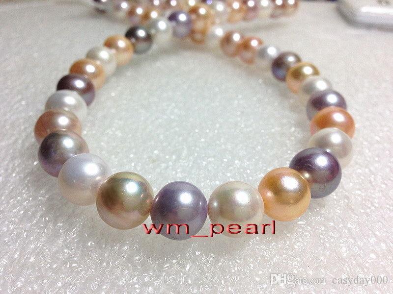 """Fine Pearls Jewelry 17 """"11-12mm REAL South sea bianco rosa viola multicolore collana di perle 14K"""