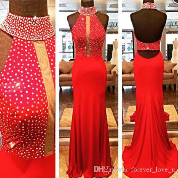 Erstaunliche wulstige hohe Ansatz Halter Abendkleid Mantel Spalt Red Abschlussball-Partei-Kleider Ärmel Perlen Verschönerung Festzug-Kleider Gewohnheit