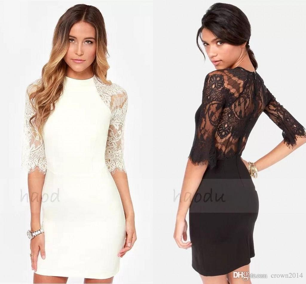 2019 Sexy Sheath High Neckl Short Cocktail Dresses Zipper Back Lace Party Dresses Half Sleeve Prom Formal Evening Dresses In Stock