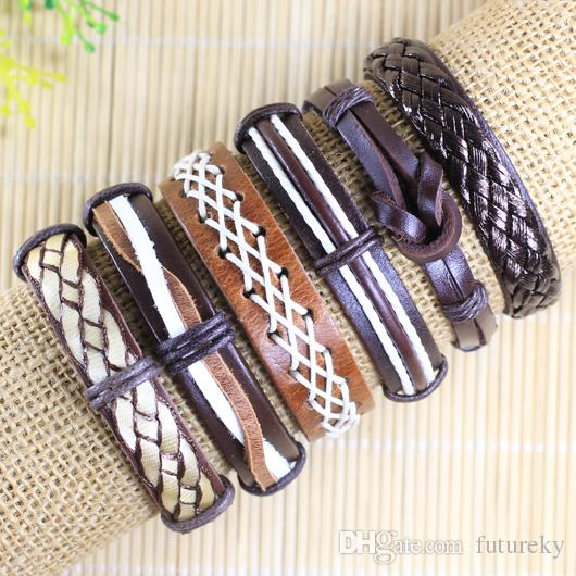 Ретро Handmade bangels Оптовый (6pcs / lot) Brwon этнический племенной подлинный регулируемый кожаный браслет для мужчин -L80