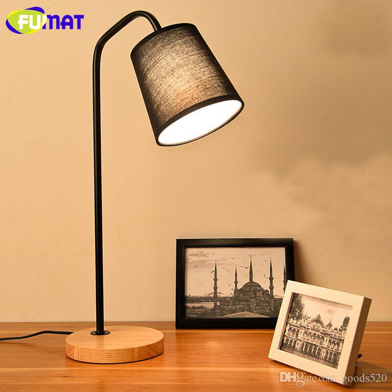 FUMAT Nordic Simple Wood LED Table Lamp Creative Warm Bedroom Beside Light Study Desk Lamp E27 Holder Black White Fabric Shade