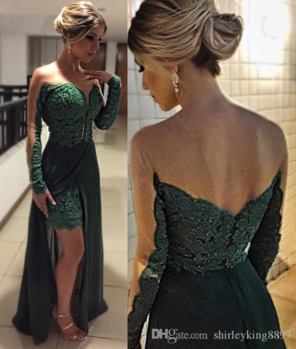 2016 Sexy Green Prom Dresses See-Through Long Sleeves Lace Sheath Side Split Chiffon Summer Evening Gowns Vestido De Renda Party Formal Wear