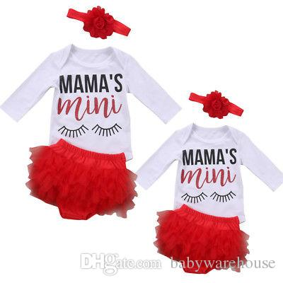 Baby Girls Clothing Cotton Long Sleeve MAMA'S mini Romper + Ruffles Tutu Lace Shorts + Headband 3Pcs Girls Set Newborn Clothing Outfits