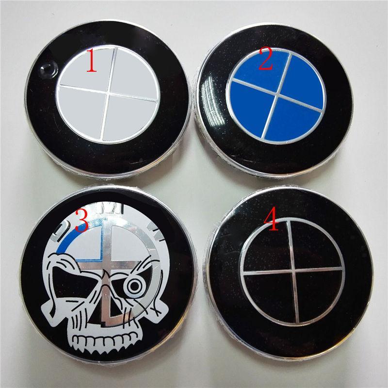 4pcs 68mm M Power Blue white black white skull full black wheel center hub caps 10 clips car emblem badge for 1 3 5 x1 x5