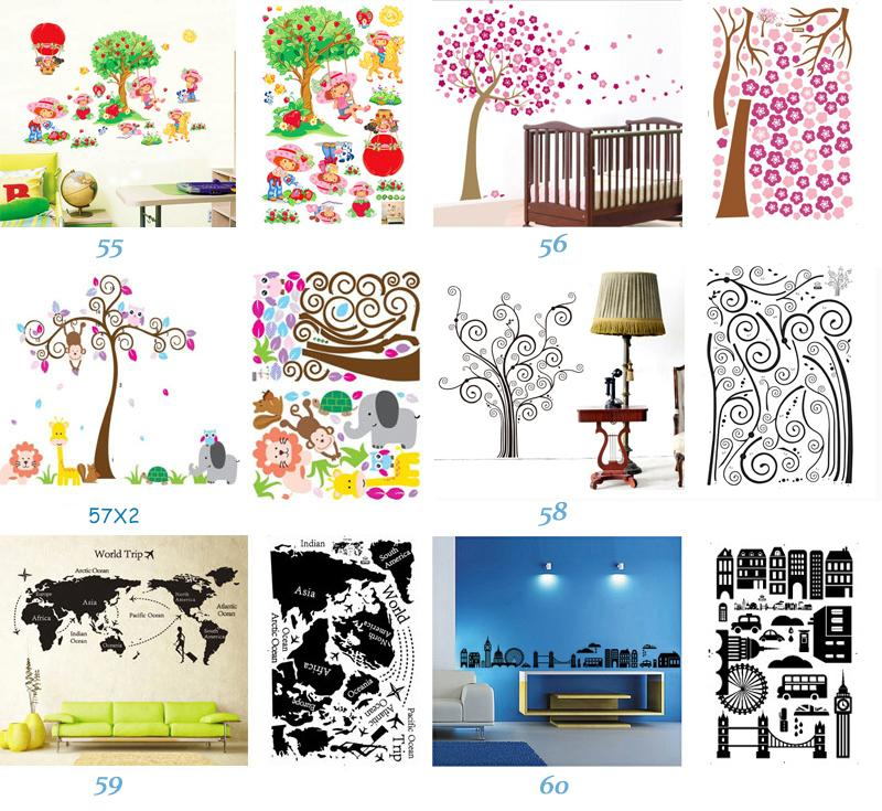 Mix Order Removable Wall Art Stickers Nursery Wall Decor 60x90cm Kids Room Wall Decals Large Wallpaper Stickers