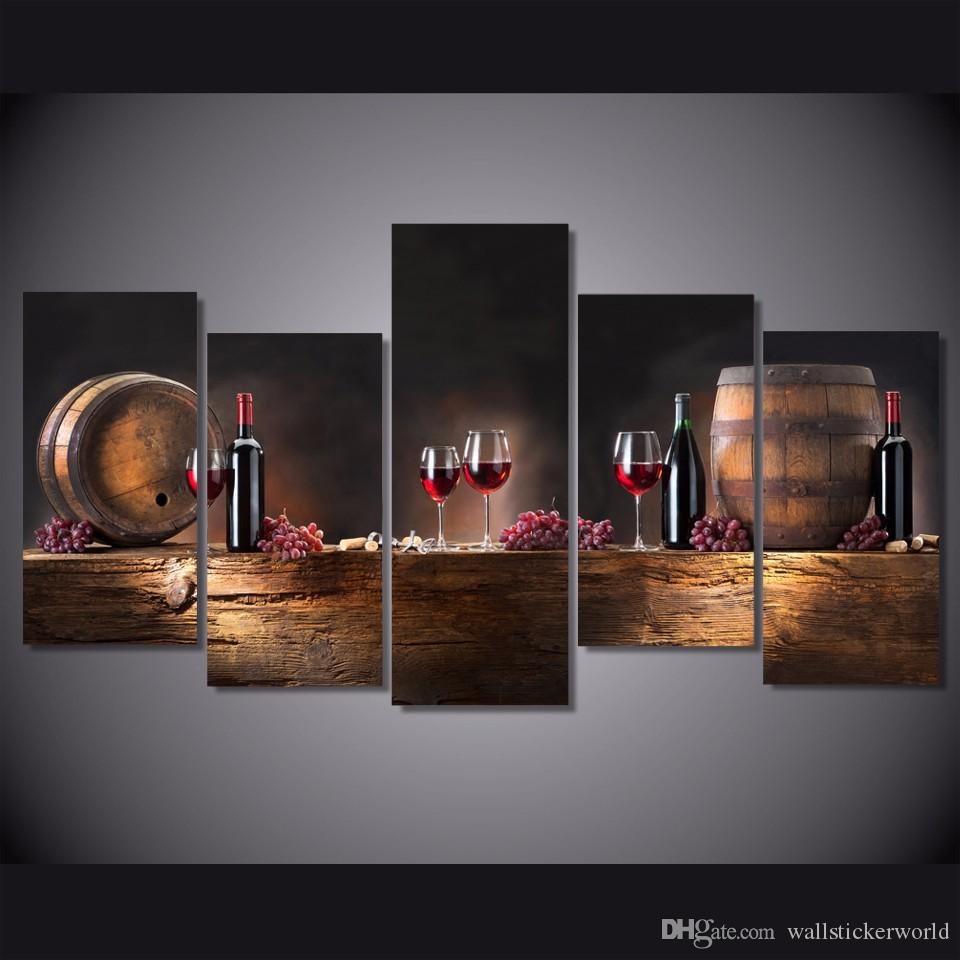 5 Pcs/Set Framed Printed barrels bunches of grapes Painting Canvas Print room decor print poster picture canvas Free shipping/ny-4375