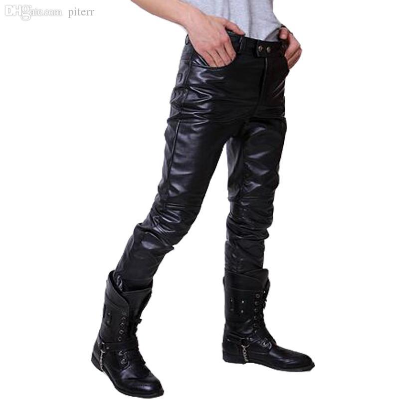 Vente en gros-2016 Pantalon en cuir HOP HOP HOP HOP MENS FAUX Cuir PU Matériau 3 Couleurs Moto Skinny Skinny Cuir Pantalon extérieur
