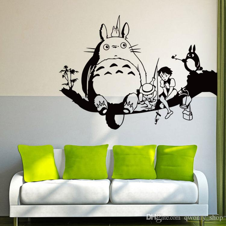 Sleeping Totoro Wall Decals Japanese Cartoon Totoro Wall Stickers