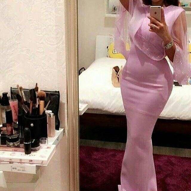 2016 vestidos de noche sencillos vaina rosada / joya de Colomn con capa de tul con cuentas capa baja v espalda longitud del piso vestidos vestidos de fiesta formales