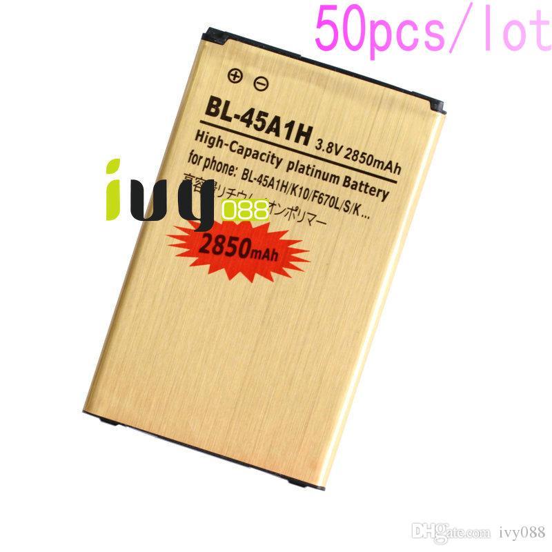 50pcs/lot 2850mAh BL-45A1H BL45A1H Gold Replacement Battery For LG K10 F670L F670K F670S K420N LTE Q10 K420 Batteries Batteria Batterie