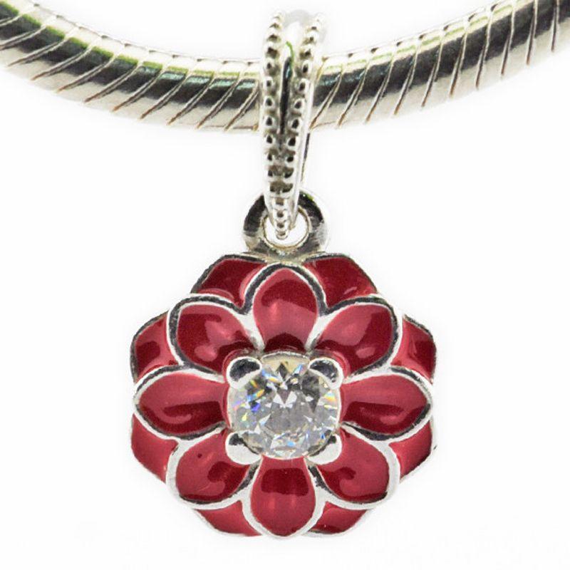 Oriental Bloom Red Emaille Klar CZ 2016 Sommer 100% 925 Sterling Silber Perlen Für Pandora Charms Armband Authentische DIY Modeschmuck