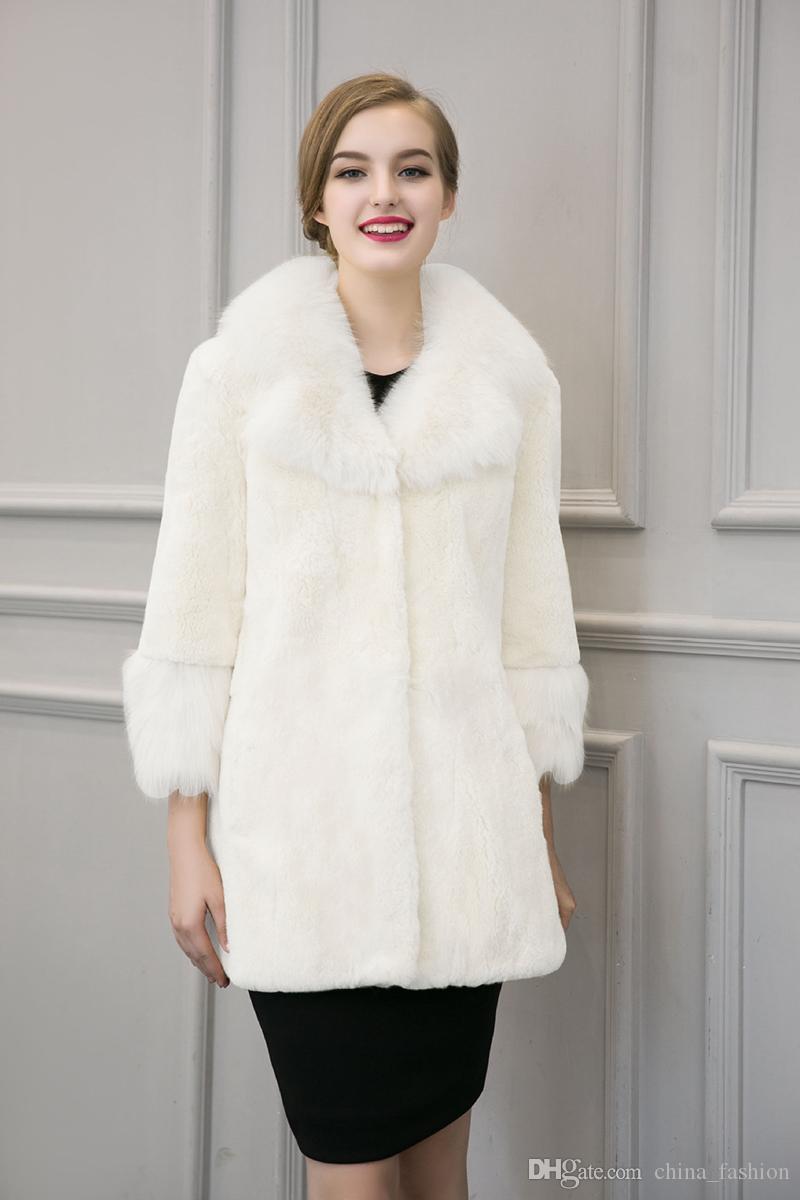 Langarm Damen Pelzkragen Fit Größe Von Langen Winter Plus Cjf0935 Weiß Schwarz Großhandel Pelz Kleidung Faux Jacken Parka Slim Mantel NX80PwknO