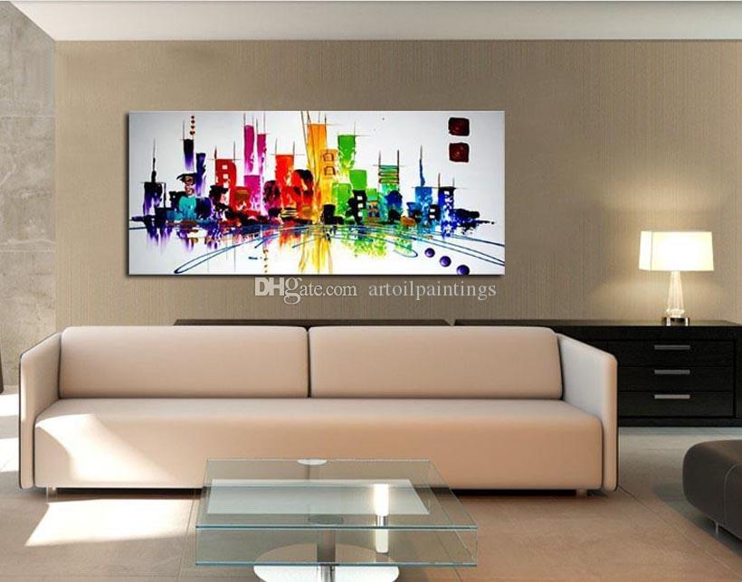 Delightful Fashion Modern Living Room Decorative Oil Painting Handpainted Large Long  Canvas Picture Mirage City Landscape ABSTRACT Part 13