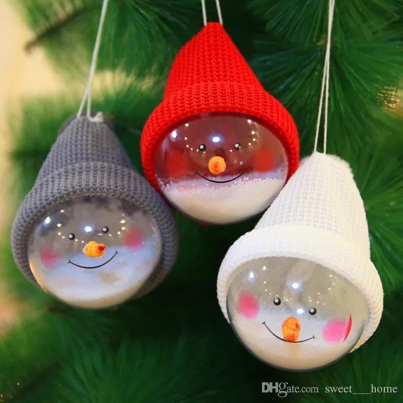 2017 hot décoration de Noël transparent boule de bonhomme de neige créatif public arbre de Noël décoré avec cadeau de Noël festif pour enfants Q6F