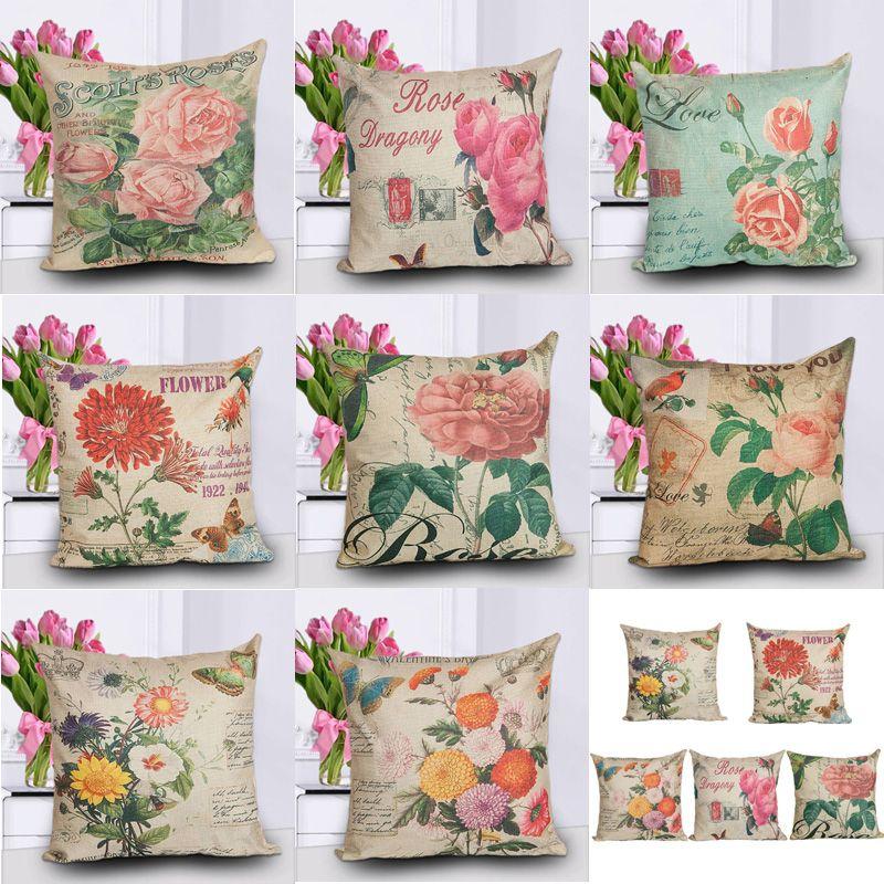 """17 """"8 Tipos Rosas Flores Fundas de cojines Rose Flowers Printing Throw Pillow Cases Fundas de cojines Regalo de San Valentín"""