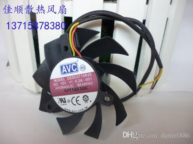 Original AVC DESC0715R2E 7 CM 12 V 0.2A 3 line placa de vídeo ventilador de refrigeração