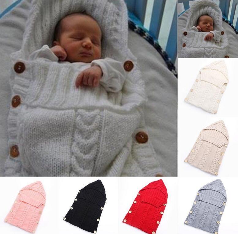 Sacco a pelo neonato infante avvolgere caldo misto lana uncinetto a maglia con cappuccio felpa avvolgere KKA2657