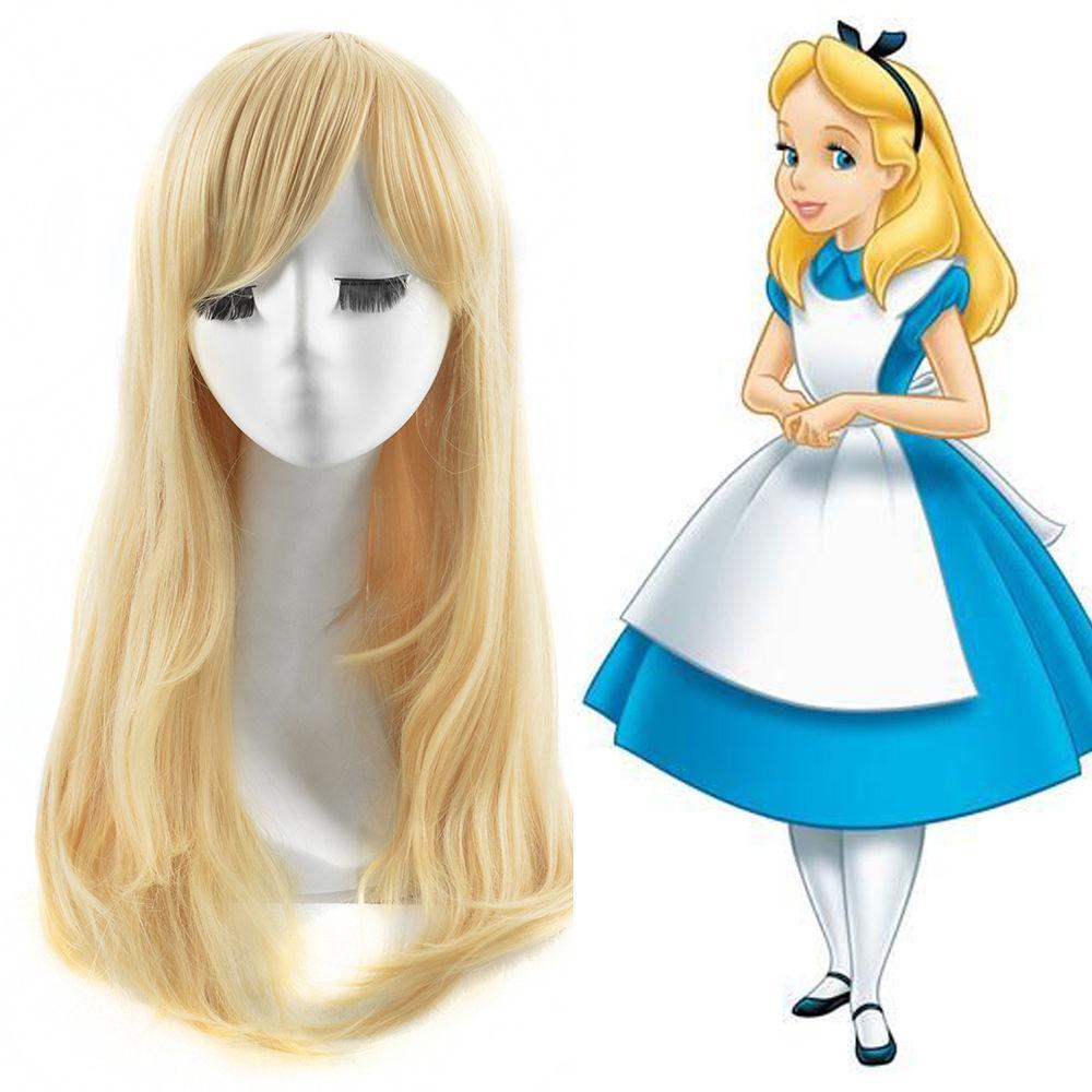100 % 아주 새로운 고품질 패션 사진의 머리는 앨리스 이상한 나라의 앨리스 가발 열 좋아 긴 직선 빛 금발 가발 가발