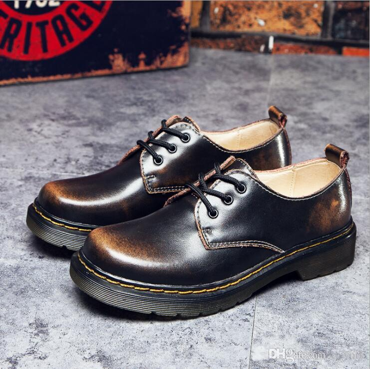 Women Men Lace Up Martin Boots Combat Punk Ankle Boots platform oxfords shoes genuine leather retro ankle boots for women
