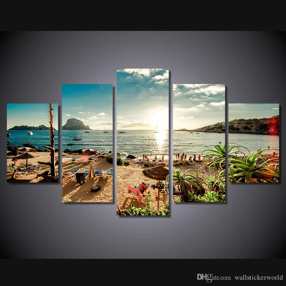 5 Pcs/Set Framed Printed Spain Ibiza Sea beach Painting Canvas Print room decor print poster picture canvas Free shipping/ny-4382