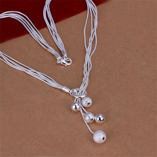 venta caliente Pequeño O Colgando arena ligera de ley perlas de plata collar chapado en STSN222, la moda al por mayor 925 cadenas de plata collares