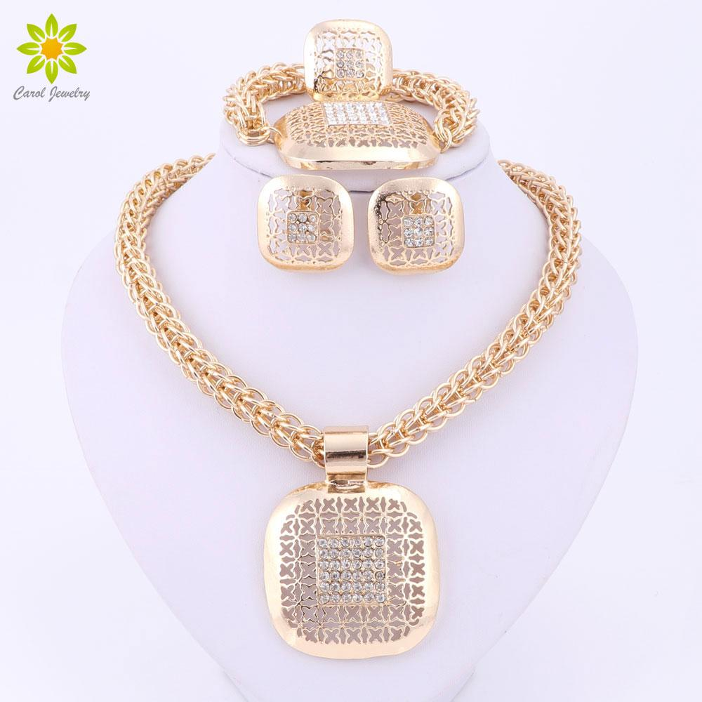 Fine African Beads Jewelry Sets Nigerian Wedding Accessories Bridal Collar Costume Earring Necklace Set Dubai Gold Plated