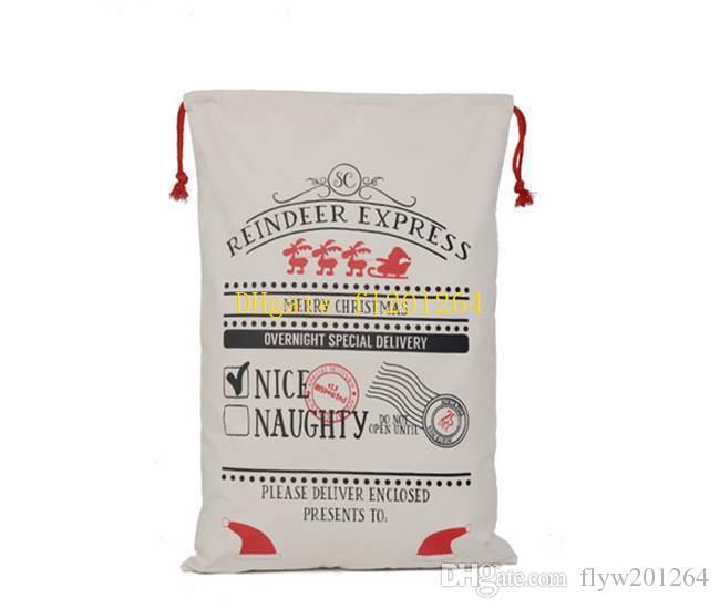 50pcs / lot nouvelle arrivée cadeau sac de noël rouge cordon toile sac de santa sac vintage sac de bas de noël décoration 8 styles
