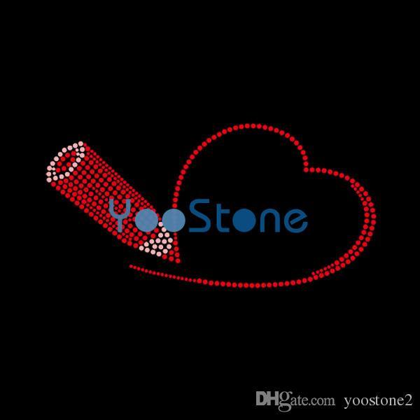Docter Pen Heart Rhinestone Iron On Transfers Hotfix Motif Hot fix Applique 20pcs/Lot