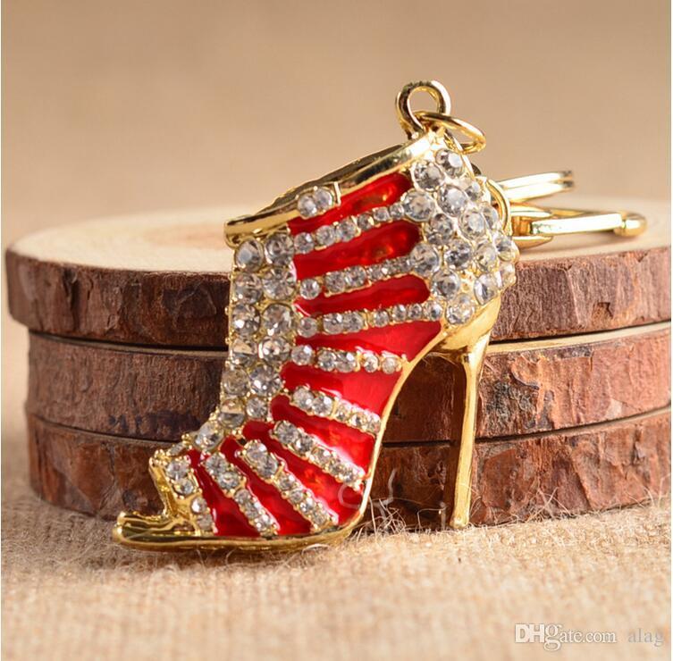 Мода милый дизайн высокие каблуки автомобиля горный хрусталь брелок девушки сумки повешения брелки праздничный подарок Брелок автомобиля qlk192