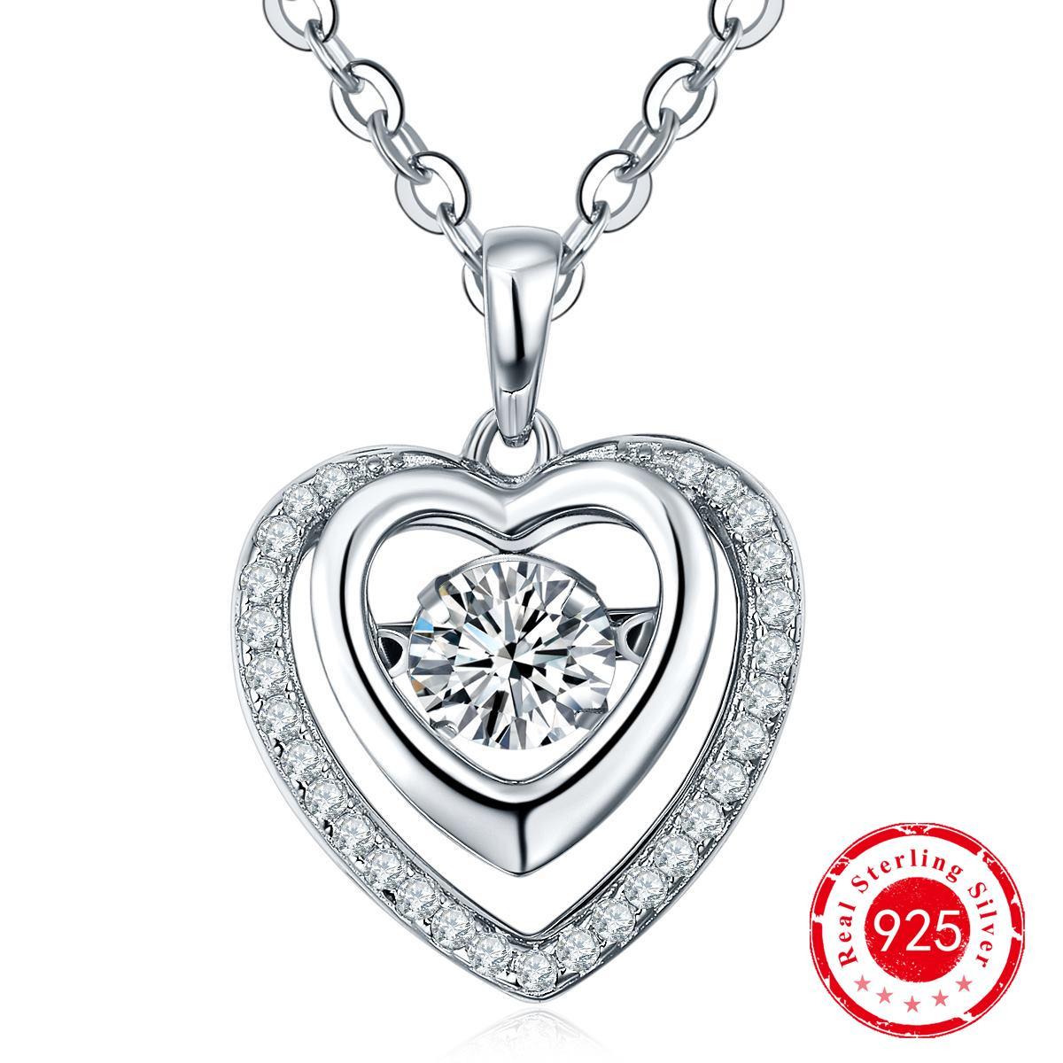 Dancing Diamond 925 Silver Double Heart Cz Earrings & Silver Pendant  Jewelry Set For Women Anniversary