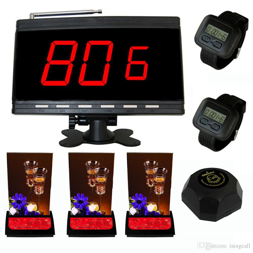 نظام SINGCALL للاتصال اللاسلكي ، مضيف أسود وساعتان للمعصم ، بالإضافة إلى 3 أجهزة استدعاء متعددة الأزرار وجرس أسود واحد