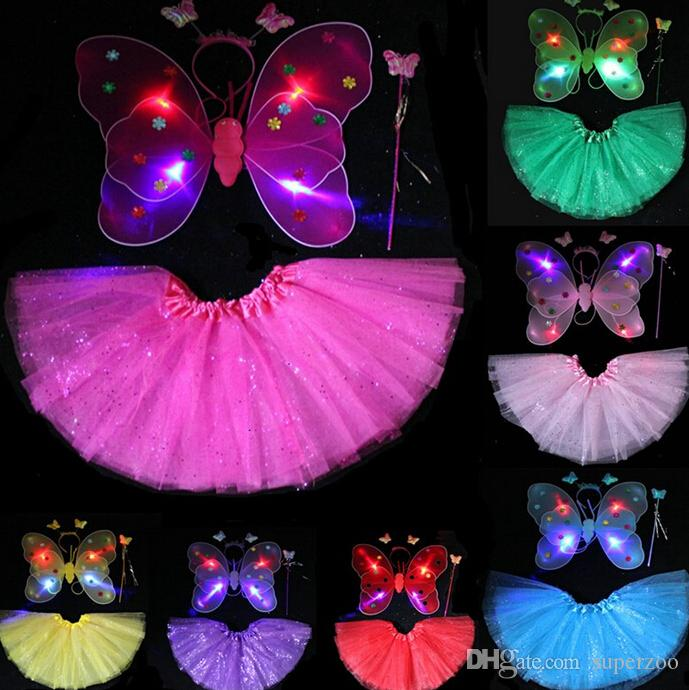 1000Sets Fedex Free LED Flashing Glow Two Layers Fairy Wings Set Wing/Headband/Wand Butterfly Wing With Tutu Dress Christmas Gift