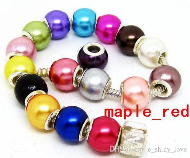 100pcs / lotto bella misto imitazione perla charms nucleo d'argento sciolto perline grande foro europeo per monili che fanno prezzo basso