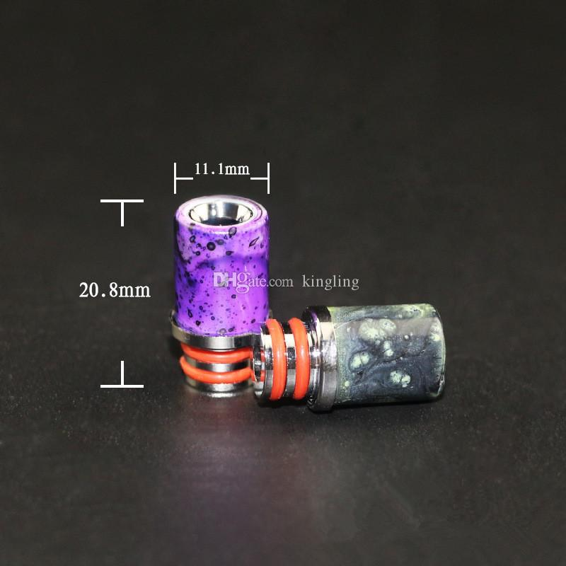 2016 Newest Vapor drip tips resin with stainless steel Pretty pattern resin drip tips for RDAs Vapor Tank Atomizers Mouthpiece Tips