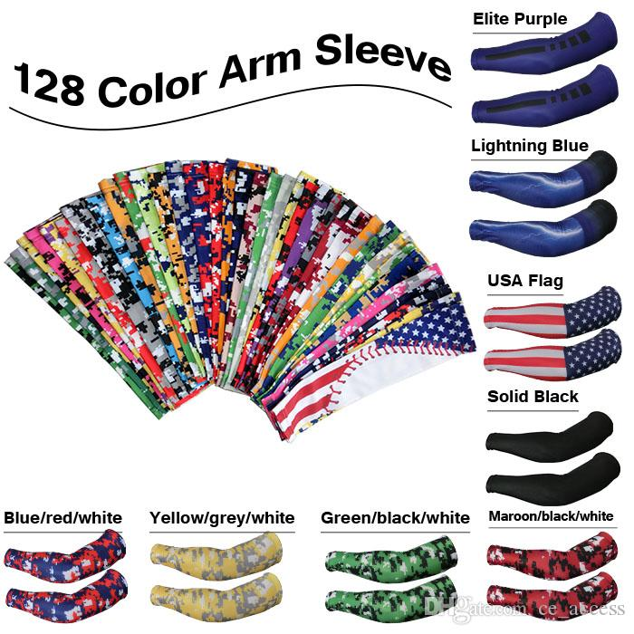 2017 new customized Camo Compression Sports Arm Sleeves Moisture Wicking softball, baseball ,cycling 128 color free DHL