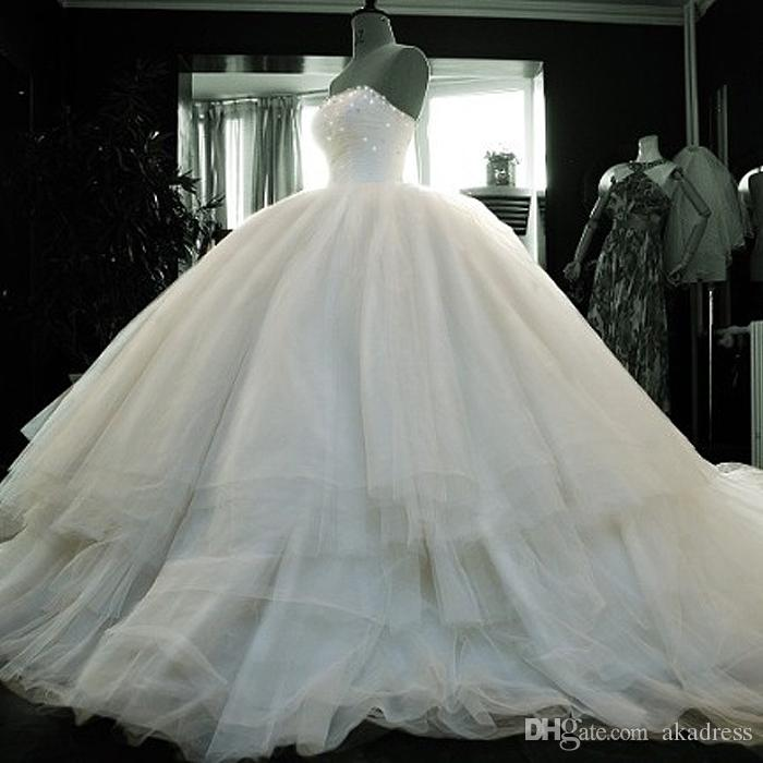 Real Modest Strapless Wedding Dresses Ball Gown Tulle Beaded Crystal ...