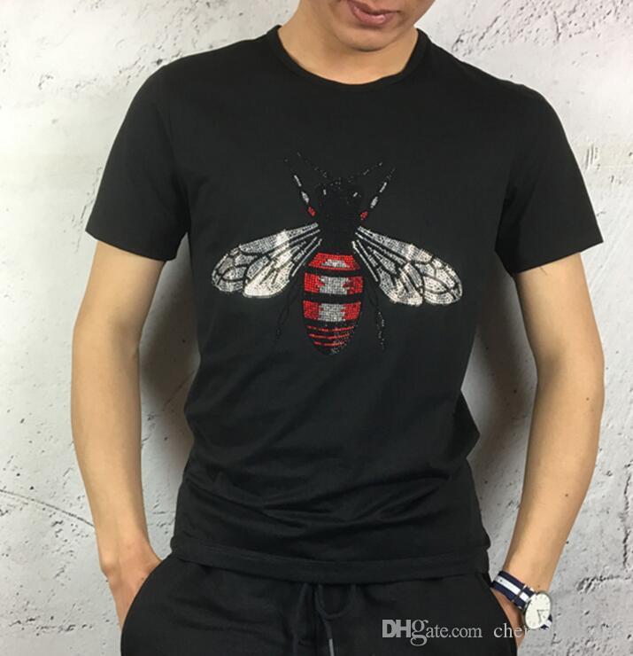 venda quente top tees de algodão mercerizado bordado lantejoula pedra masculina slim fit dos homens de manga curta t-shirt
