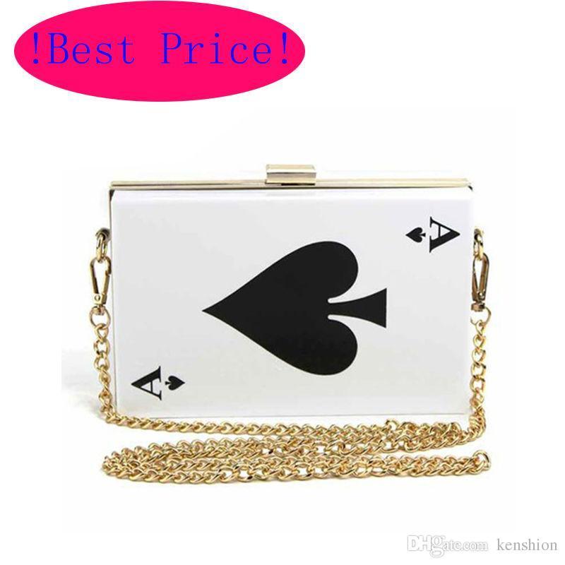 Best Price Hot Acrylic Evening Bags! Brand Designer Clutch Women Queen Handbag Purse Hard Chain Box Perfume Bag Plastic Poker - RC031