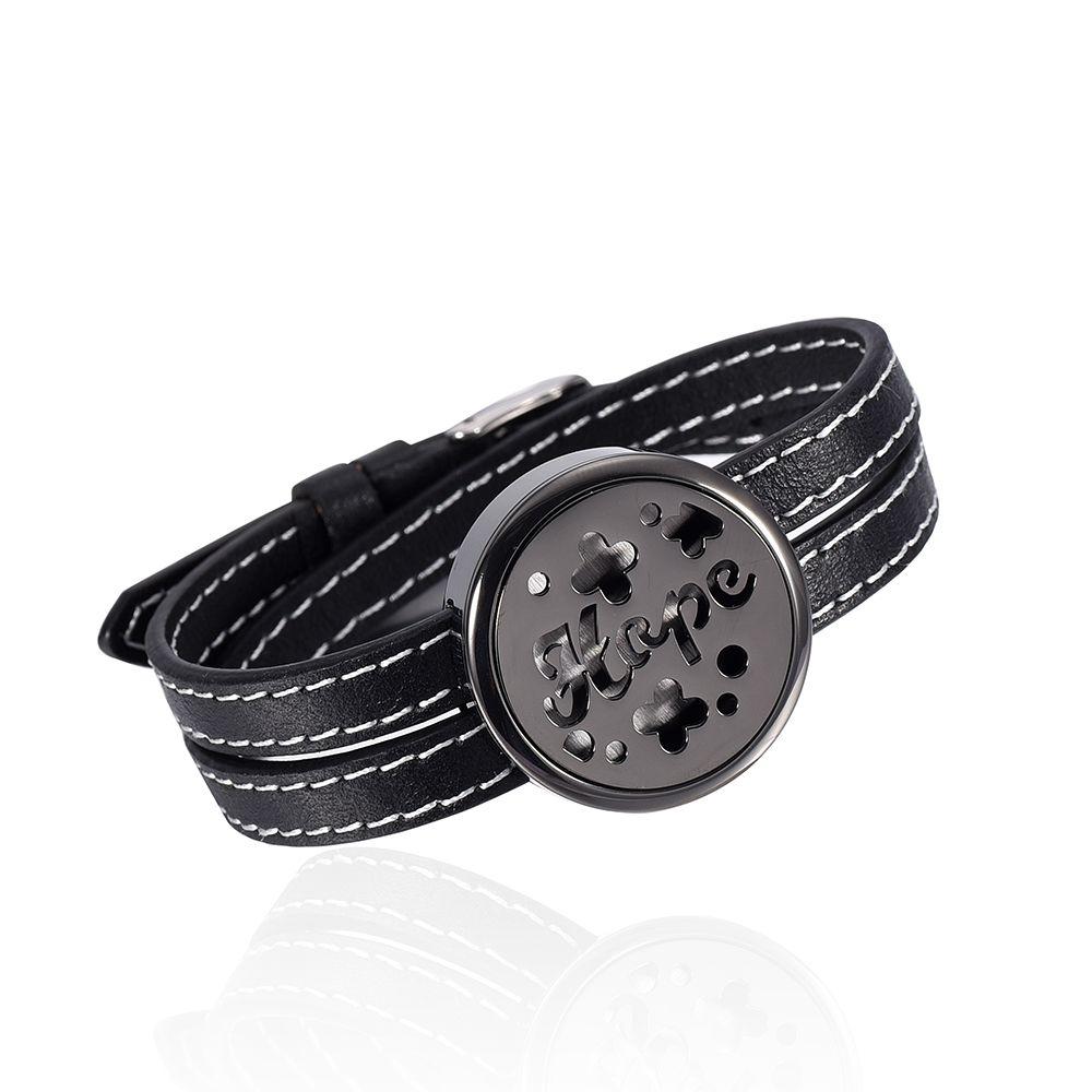 IJP2001 Newest Perfume locket Brecelets 4 Black Genuine Leather diffuser locket bracelet Openable 30MM Black Locket Jewelry