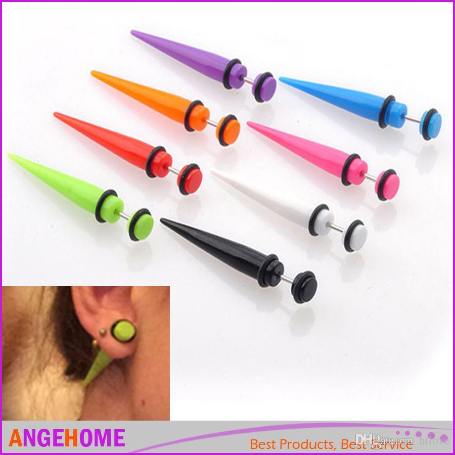 1 Pair earrings Fashion Illusion Ear Fake Cheater Stretcher Rivet Taper Plug Stud Earrings Tunnel Gauges 7 Colors