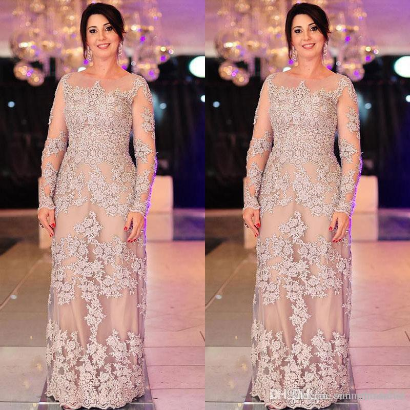 Elegant Plus Size Mother Of The Bride Evening Dresses Long Sleeve Appliqued Nigerian Lace Styles Floor Length Formal Bridal Guest Dress