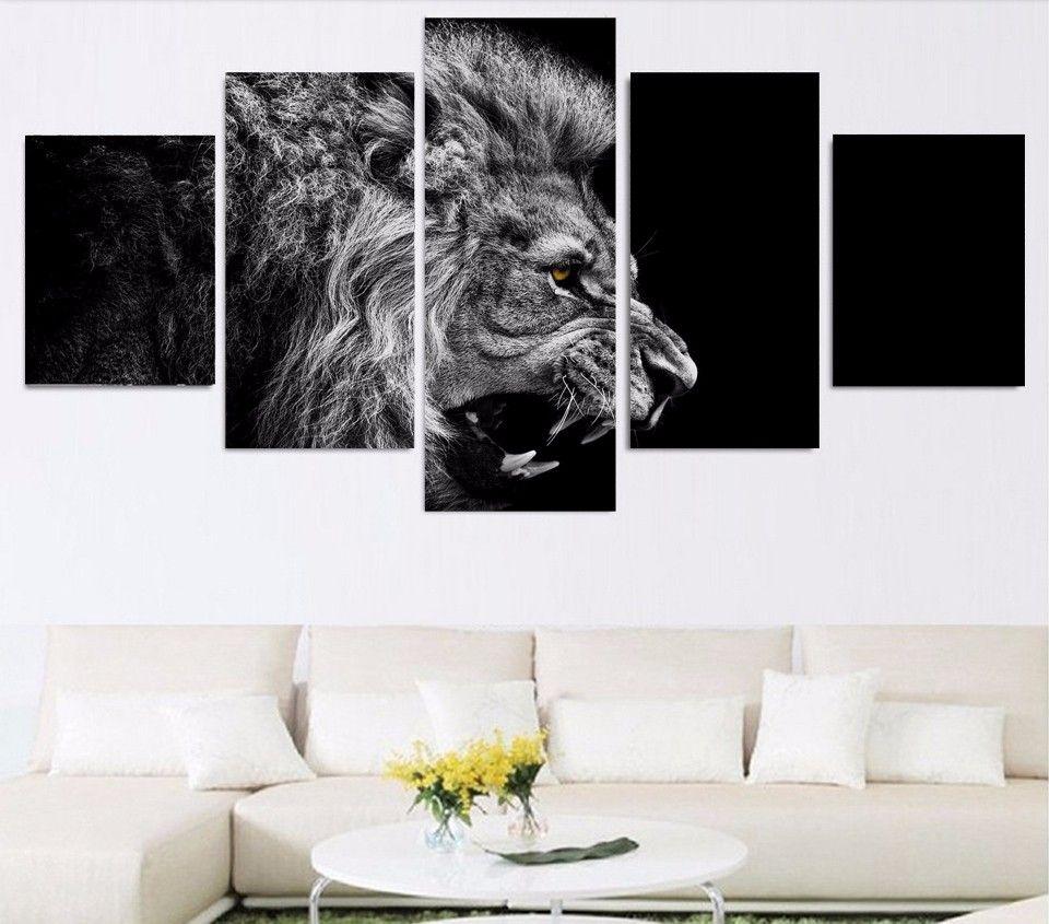 5 Pcs / Set Sem Framed HD Impresso leão branco pintura preto lona sala de impressão decoração de impressão imagem do cartaz da pintura sem moldura lona