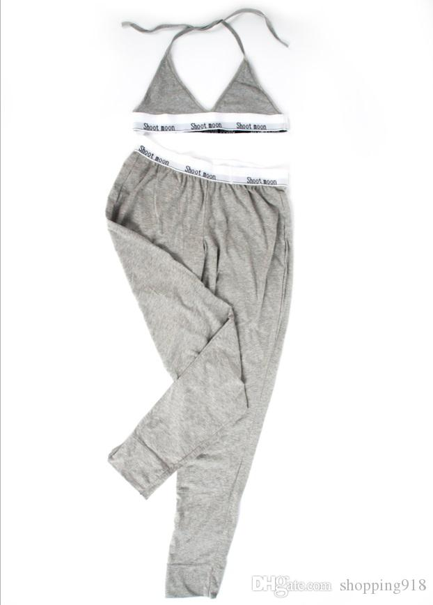 clásico de la moda los pantalones de las mujeres conjunto, conjuntos de ropa interior pantalones largos determinadas del sujetador