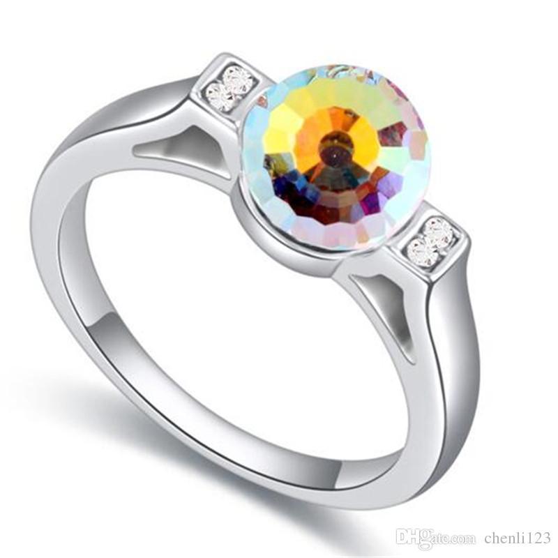 Crystal original a partir de los elementos de Swarovski Anillo oro blanco plateó los anillos de compromiso para la joyería de moda de Corea de las mujeres 22345