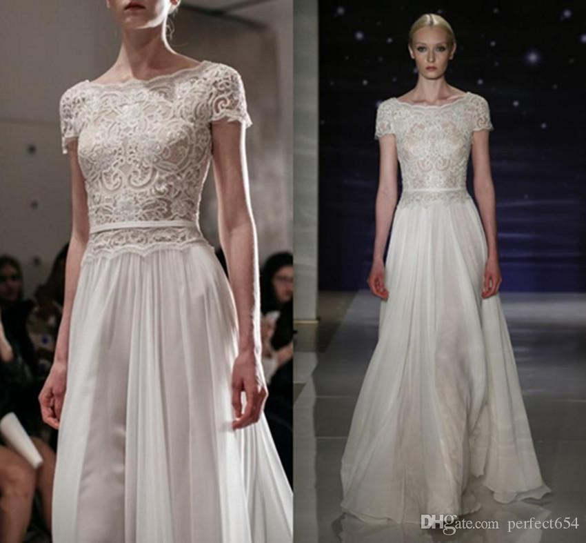 Discount Beach Reem Acra Bridal Dresses 2017 Spring Lace Chiffon ...