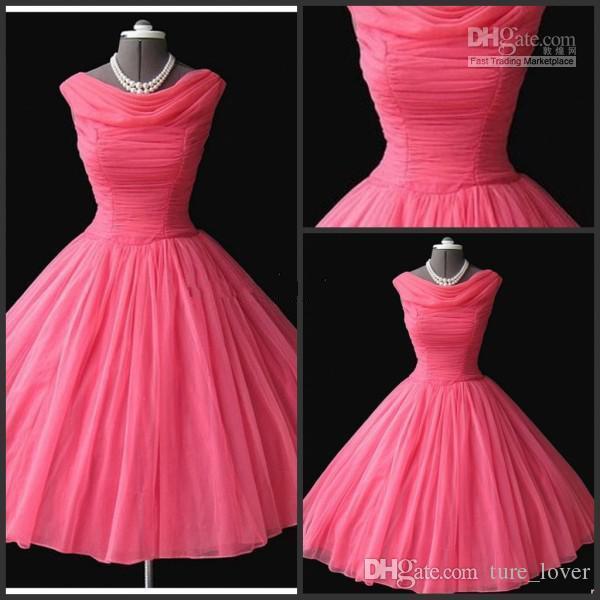 Real amostra 1950's vintage bateau dama dama de honra vestidos chá-comprimento inchado bola de baile água melão chiffon vestidos de baile curto vestidos de noite