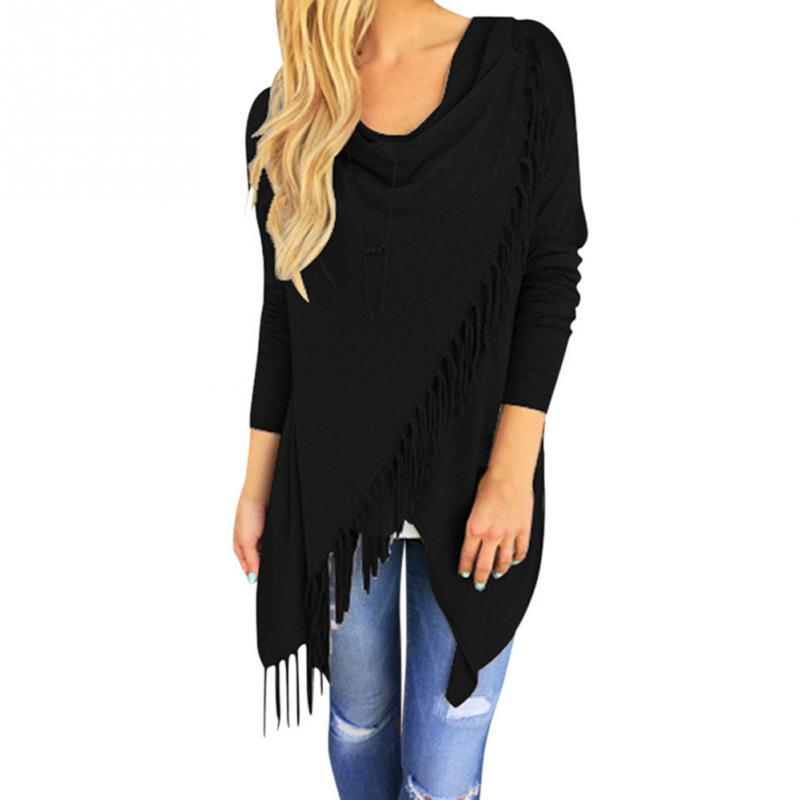 Wholesale- Women Irregular Tassel Knitted Cardigan Loose Sweater Outwear Jacket Poncho Coat